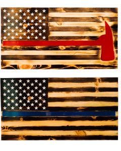 """First Responder Handcrafted Wooden Flag, 37"""" x 20"""""""