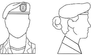 Diagram: Proper wear of the Army Black Beret