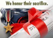 A graphic of a military decoration and an award wrapped up with a ribbon with text saying We honor their sacrifice.