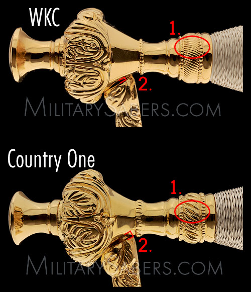 Comparison of Army NCO Sword Hilt Casts